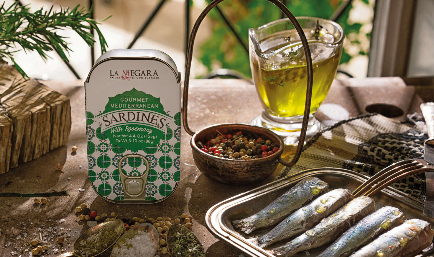 Gourmet  Mediterranean Sardines With Rosemary Background Image